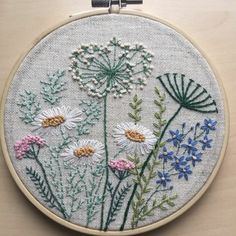 Flowers and herbs embroidery hoop art gift for her / Floral hand stitched wall art / Framed botanical home decor / Fiber art room decoration Wildblumen Hoop Art / Stickrahmen Art / Hoop Art / Floral Crewel Embroidery Kits, Embroidery Flowers Pattern, Silk Ribbon Embroidery, Vintage Embroidery, Embroidery Designs, Embroidery Thread, Machine Embroidery, Eyebrow Embroidery, Towel Embroidery