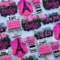 No Bake Sugar Cookies, Fancy Cookies, Iced Cookies, Cut Out Cookies, Cupcake Cookies, Cupcakes, Paris Birthday Parties, Paris Party, Cake Paris