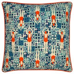 It's a giant lobster cushion! Also available as a set with 3 tile cushions (pictured) Giant Lobster, World Of Interiors, Home Trends, Coastal Homes, Limited Edition Prints, Beach Themes, Swimmers, Just In Case, Color Pop