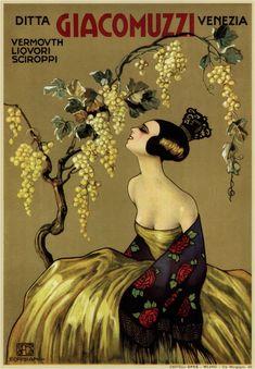 ein-bleistift-und-radiergummi:  Vintage Italian Poster Ad 'Giacomuzzi Vermouth' 1930's.