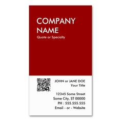 Maroon Bold Design Your Own QR Code Business Card