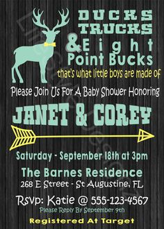 Rustic Baby Shower   Its A Boy   OH Deer   Baby Shower Invitation   Boy Baby  Shower   Deer Baby Shower   Hunting Baby Shower   Printable