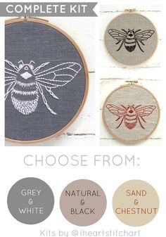DIY embroidery KIT, bumblebee embroidery pattern, modern hand embroidery pattern, DIY embroidery hoop art, bee needlecraft kit, bee pattern