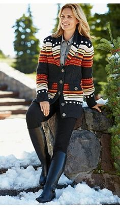 Lodge Stripe cardigan #pendleton