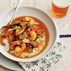 Shrimp-and-Crab Gumbo Over Grits | Coastalliving.com