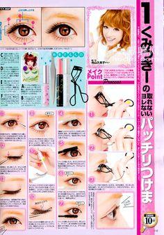 Momodoki: Popteen August 2012 - Makeup And Hair Scans Kawaii Makeup, Cute Makeup, Makeup Looks, Cute Beauty, My Beauty, Japanese Makeup, Japanese Fashion, Eye Flutter, Eyelashes Tutorial