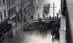 """British Tank Dublin street January """"i think it my be Talbot Street. no 4 is near to Capel Street as the fruit market can be seen in the background of the photo. Old Pictures, Old Photos, Dublin Map, Dublin Ireland, Diorama, Ireland 1916, Irish Free State, Dublin Street, Easter Rising"""