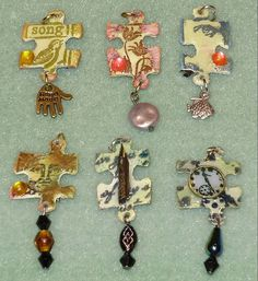 6 Jigsaw Charms- these would also be cute cut from metal cans, instead of the original puzzle pieces. Puzzle Piece Crafts, Puzzle Art, Puzzle Pieces, Resin Jewelry, Jewelry Crafts, Handmade Jewelry, Diy Jewelry Recycled Things, Jewellery, Resin Crafts