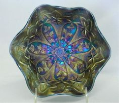 "Millersburg Little Stars 7"" ruffled Carnival Glass bowl -  - super pretty satin irid., extremely rare Blue!"