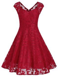 Vintage Dress Fashion | $15.87 |Sweetheart Neck Overlay Dress in Red M | Sammydress.com