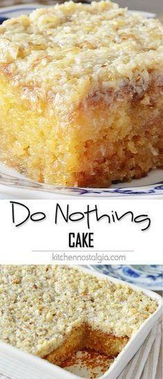 Bolo de abacaxi/Poke cake Do Nothing Cake, aka Texas Tornado Cake - super moist pineapple dump/poke cake with coconut walnut frosting; ridiculously easy to make and ideal for potlucks! 13 Desserts, Brownie Desserts, Health Desserts, Baking Desserts, Do Nothing Cake, Tornado Cake, Coconut Dessert, Coconut Cakes, Lemon Cakes