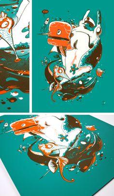 Y'eau / Ice Ice Baby by Patswerk, via Behance Ice Ice Baby, Graphic Design Branding, Portfolio, Creative Studio, Letterpress, Screen Printing, Behance, Color Palettes, Animals