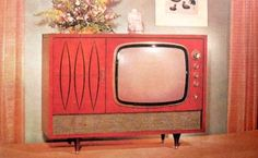 """Nifty old tv… I can almost hear the opening bars of """"I Dream of Jeannie."""" I'd love to find one of these & turn it into… – retro Tvs, Radios, Kitsch, Mid-century Modern, Danish Modern, Vintage Tv, Vintage Pink, Vintage Decor, Vintage Items"""