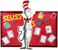 """This """"Seuss Has SWAG!"""" Acronym Activity bulletin board was created to showcase class writing assignments of acronyms based on Dr. Seuss™ books.  An acronym is written on each letter for """"Seuss"""" and """"Swag.""""  Have your class create their own acronyms based on words or characters from their favorite Seuss book.  For example, they may use GRINCH, THE CAT, etc."""