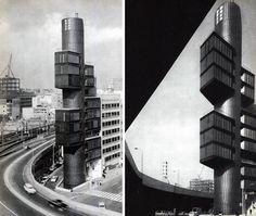 Kenzo Tange, Shizuoka tower. Domus 463 / June 1968; page detail