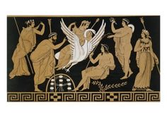 size: Giclee Print: Century Greek Vase Illustration of Zeus Abducting Leda in the form of a Swan by Stapleton Collection : Artists Your Spirit Animal, European Paintings, Greek Art, Tropical Art, Illustrations, Vases Decor, Find Art, Framed Artwork, 19th Century