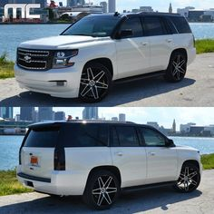 2015 Chevrolet Tahoe with blacked out accents, painted black top, custom front grille with detailed highlights, custom finished badges, smoked lights, full audio upgrade, and lowered on custom finished @giovannawheels vehicle built for @maurog446 of the Hanshin Tigers.