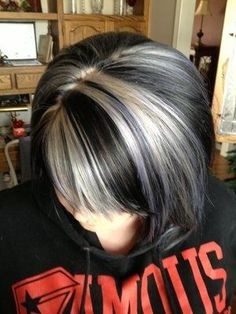 Platinum highlights w/dark brown hair
