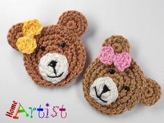 Crochet patches – Crochet Applique Embellishments – a unique product by HomeArtist on DaWanda - Crochet Pattern Free, Crochet Lion, Crochet Teddy, Cute Crochet, Crochet Motif, Crochet Flowers, Crochet Toys, Crochet Stitches, Knit Crochet