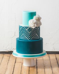 Blue Ombre Fondant Chevron Wedding Cake by Katherine Sprules Cake Designs