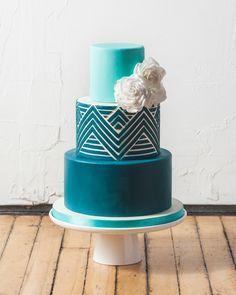 Blue Ombre Fondant Chevron Wedding Cake by Katherine Sprules Cake Designs