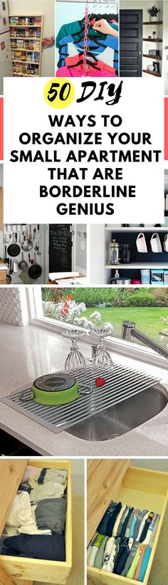 If your home ever feels cramped, try these genius ideas and hacks to organize it. It will create so much space in your home or apartment!  #organizing #organize #lifehacks #diy