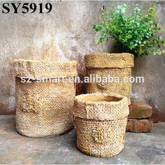 Vaso de flores para decoração pequeno saco de cimento de concreto planta pot