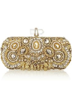 Marchesa Lily Embellished Mesh Box Clutch in Gold