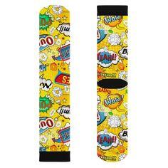 Yellow 2 Comic Book Speech Bubble Socks