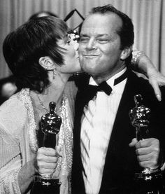 Shirley MacLaine and Jack Nicoholson pose with the Oscars they won for Terms of Endearment