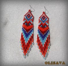 Long Indian style beads earrings  tribal style boho by Olisava