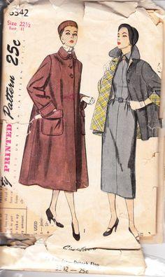 1950's vintage coat sewing pattern
