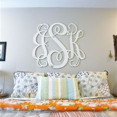 Unfinished Wooden 3 Letter Vine Personalized Custom Monogram Wall Art