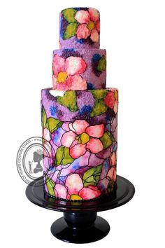 Stained Glass Cake using 100% Buttercream by Queen of Hearts Couture Cakes
