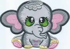 Elephant-zb1 Applique iron-on patch or quilt block by QUILTSRUS08