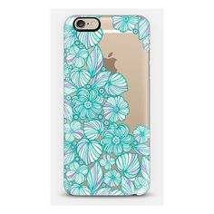 Turquoise flowers iPhone ($40) ❤ liked on Polyvore featuring accessories and tech accessories