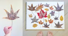 30 Creative September Activities for Kids - Zentangle Leaves with Real Autumn Leaves Fun Crafts To Do, Crafts For Kids, Arts And Crafts, Autumn Leaves Craft, Autumn Art, Fall Leaves, Leaf Projects, Art Projects, September Activities