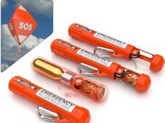 Rescue Me Balloon is a compact, easy-to-carry emergency canister that places an SOS balloon 150 feet with a bright LED.
