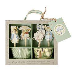 Peter Rabbit Cupcake Kit, Meri Meri Beatrix Potter Cupcake Liners, Baby Shower Cake Toppers Easter Decorations