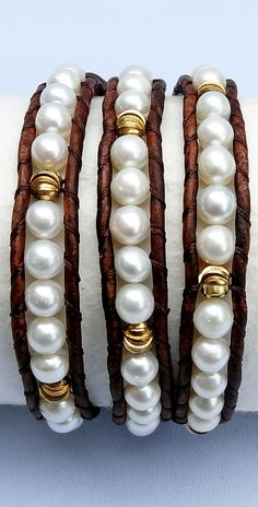 Freshwater Pearl and Gold Lasercut Bead Leather Wrap Bracelet with naturally dyed brown leather. #pearl #June #birthstone