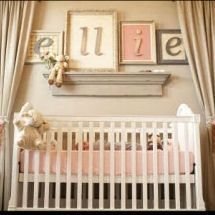 Romantic vintage salmon pink brown and mossy green baby girl nursery room. Beautiful. Remodeling