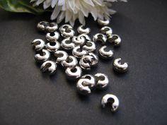 30 Kaschierperlen silberfarben, 6x3mm, Perlen basteln, Quetschperlen verstecken,