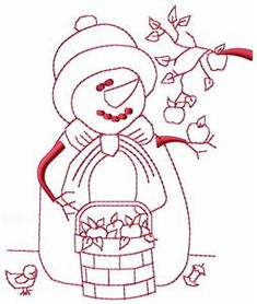 September Snowman Embroidery Design by Paha Sapa Traders Learn Embroidery, Hand Embroidery Stitches, Vintage Embroidery, Embroidery Techniques, Cross Stitch Embroidery, Machine Embroidery Designs, Embroidery Patterns, Stitch Patterns, Embroidery Transfers