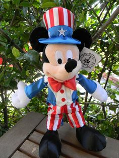 """Disney Parks Americana Mickey Mouse Plush Patriotic Doll Uncle Sam US 4th 9"""" 