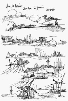 memi - sketchbookseduction - views from the train window Landscape Pencil Drawings, Landscape Architecture Drawing, Landscape Sketch, Ink Pen Drawings, Journey Tattoo, Notebook Sketches, Botanical Line Drawing, Nature Drawing, Traditional Artwork