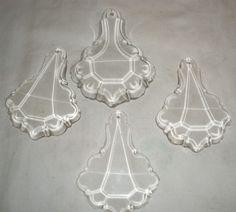 """C 38 set of 4 vintage Czech Glass 4""""x3""""  Lamps Art Parts lot"""