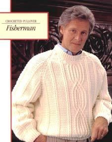 Fisherman's Crocheted Pullover   AllFreeCrochet.com