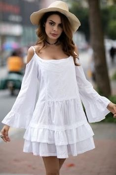 15 Ideas for embroidery dress boho casual Day Dresses, Cute Dresses, Casual Dresses, Dresses With Sleeves, Ladies Dresses, White Outfits, Summer Outfits, Summer Dresses, Embroidery Fashion