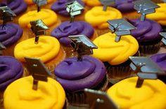 Purple chocolate cupcakes  yellow vanilla cupcakes for graduation party.