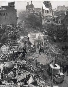 Bomb damage to the market during World War Two
